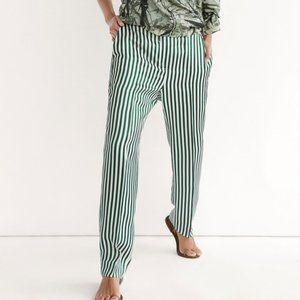 Massimo Dutti green striped trousers NWOT